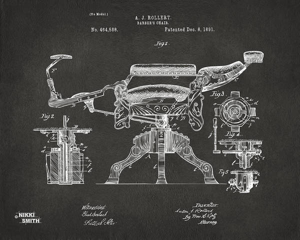 1891 Barber's Chair Patent Artwork - Gray Poster