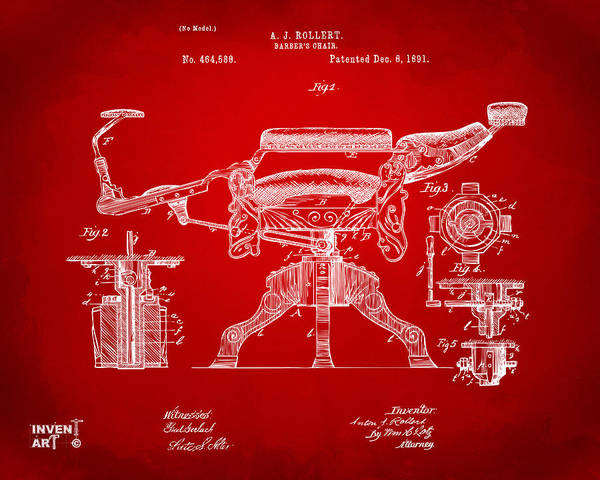 1891 Barber's Chair Patent Artwork Red Poster
