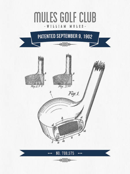 1902 Mules Golf Club Patent Drawing - Retro Navy Blue Poster