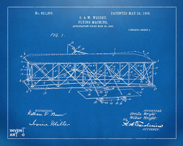 1906 Wright Brothers Flying Machine Patent Blueprint Poster
