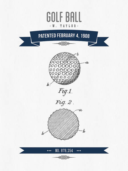 1908 Taylor Golf Ball Patent Drawing - Retro Navy Blue Poster