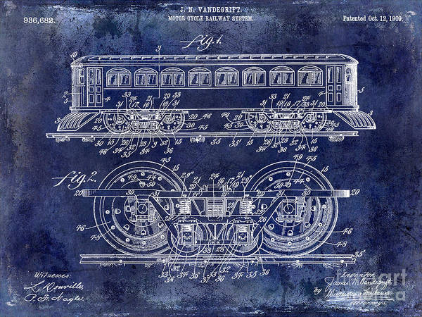 1909 Railway System Patent Drawing Blue Poster