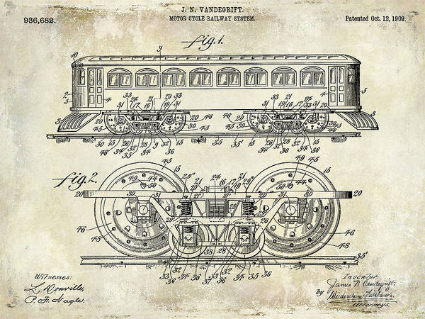 1909 Railway System Patent Drawing  Poster