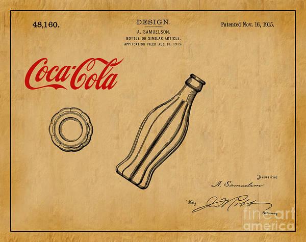 1915 Coca Cola Bottle Design Patent Art 1 Poster