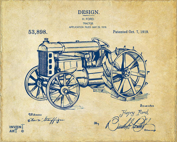 1919 Henry Ford Tractor Patent Vintage Poster