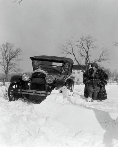 1920s Packard Stuck In Snow Bank Poster