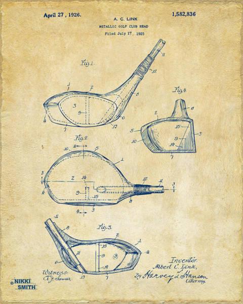 1926 Golf Club Patent Artwork - Vintage Poster