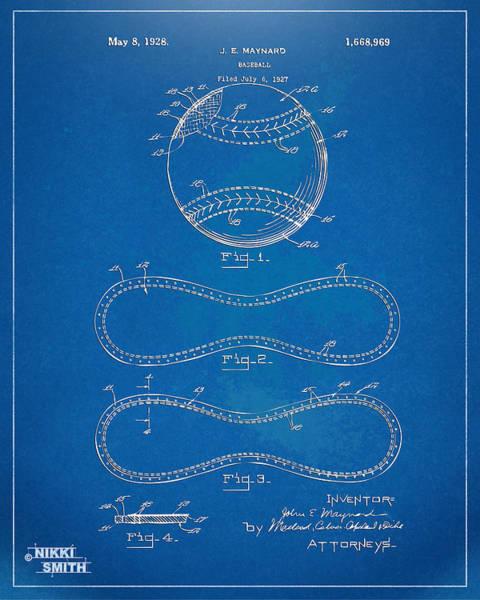 1928 Baseball Patent Artwork - Blueprint Poster