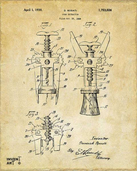 1928 Cork Extractor Patent Art - Vintage Black Poster