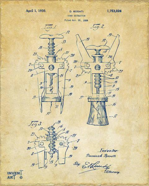 1928 Cork Extractor Patent Artwork - Vintage Poster
