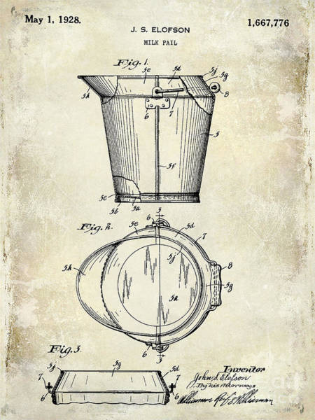 1928 Milk Pail Patent Drawing Poster