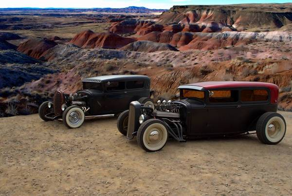 1930 And 1931 Ford Sedan Rat Rods Poster