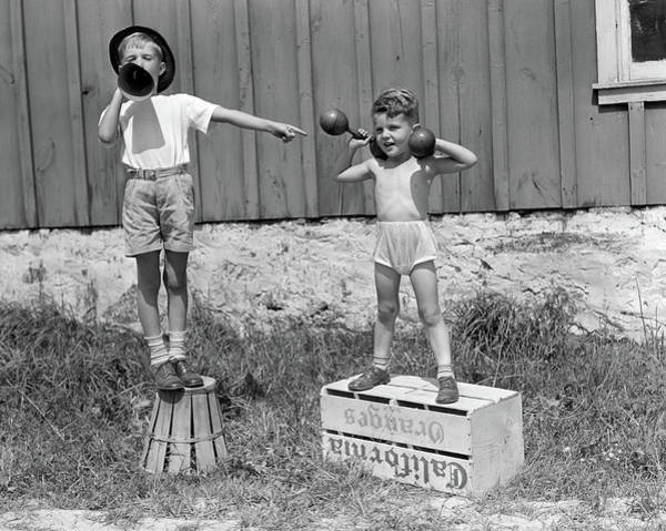 1930s 1940s Boys Playing Carnival Poster