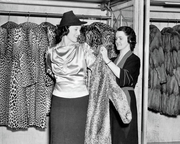1930s Smiling Woman In Fur Salon Trying Poster
