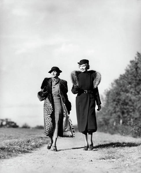 1930s Two Women Walking On Gravel Path Poster