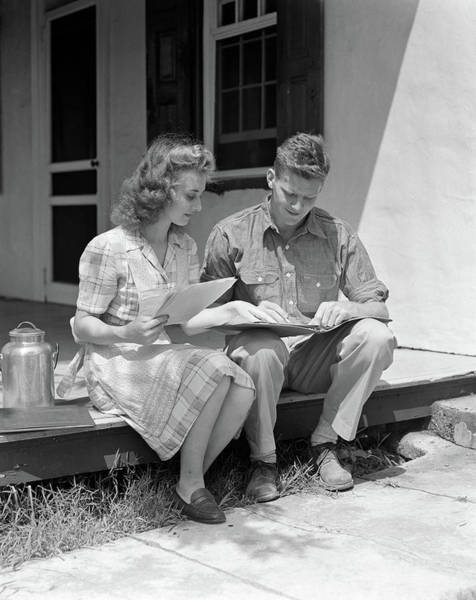 1940s Young Couple Man Woman Sitting Poster
