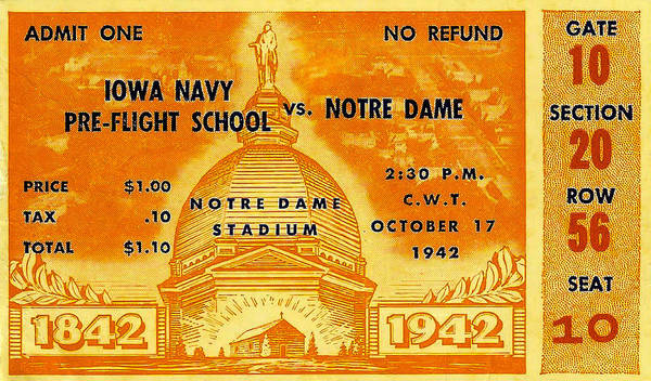 1942 Football Ticket Notre Dame Vs Iowa Navy Pre-flight Poster