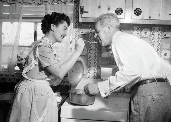 1950s Housewife In Kitchen Having Poster