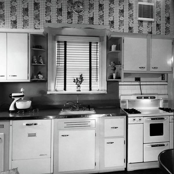 1950s Modern Kitchen Interior Sink Poster
