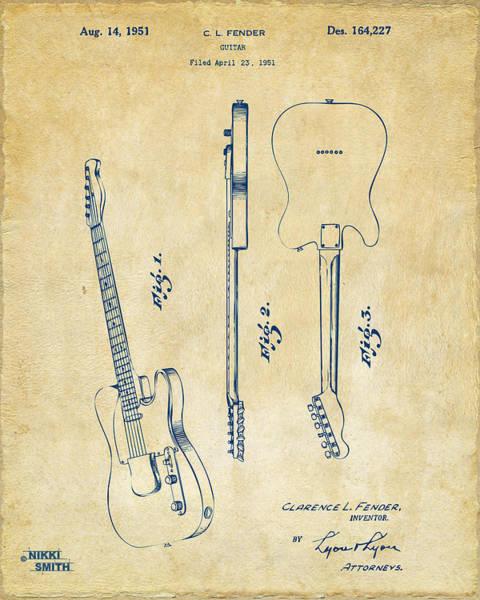 1951 Fender Electric Guitar Patent Artwork - Vintage Poster