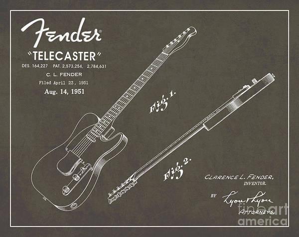 1951 Fender Telecaster Guitar Patent Art In White Chalk On Gray  Poster