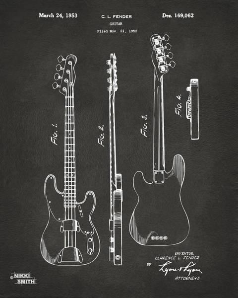 1953 Fender Bass Guitar Patent Artwork - Gray Poster