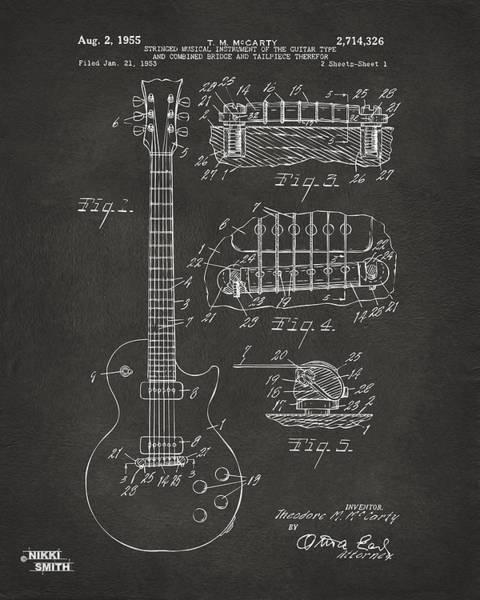 1955 Mccarty Gibson Les Paul Guitar Patent Artwork - Gray Poster