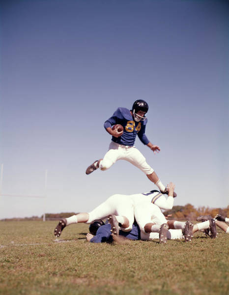 1960s Football Player Running Carrying Poster