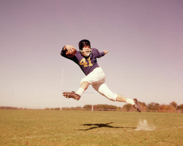 1960s Jumping Running Football Player Poster