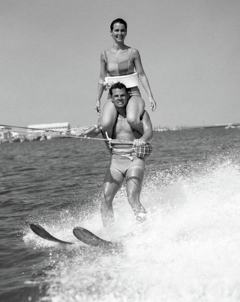 1960s Man Water Skiing With Woman Poster