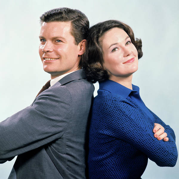 1960s Smiling Man And Woman Standing Poster