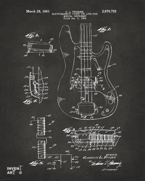 1961 Fender Guitar Patent Artwork - Gray Poster