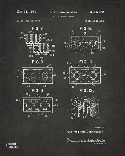 1961 Lego Brick Patent Art - Gray Poster