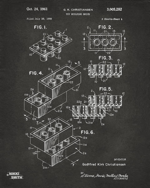 1961 Toy Building Brick Patent Art - Gray Poster