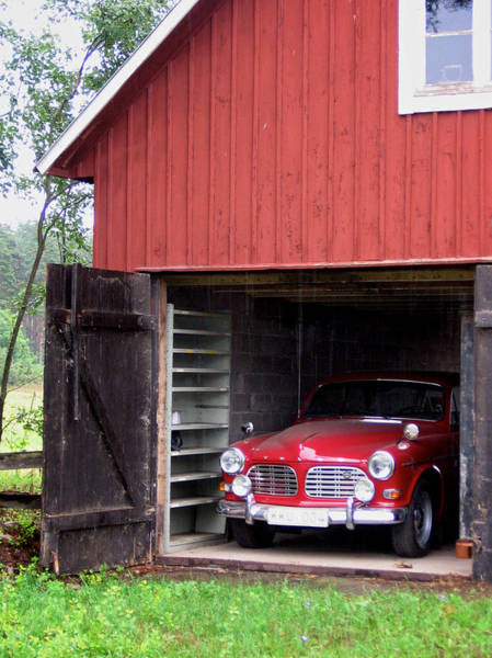 1967 Volvo In Red Sweden Barn Poster