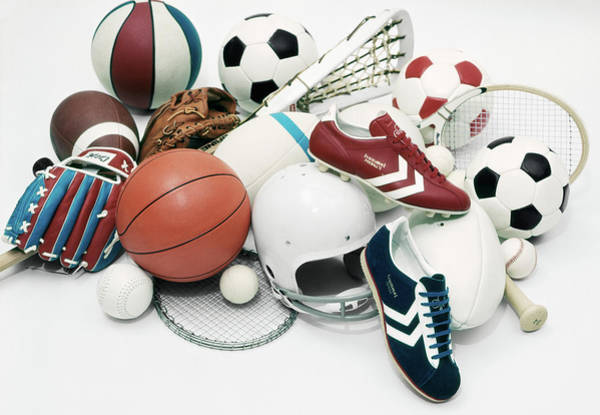 1970s Assorted Vintage Sports Equipment Poster