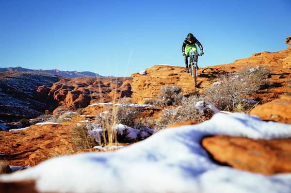 A Man Riding His Mountain Bike Poster