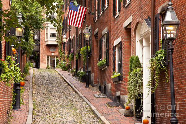 Poster featuring the photograph Acorn Street Boston by Brian Jannsen