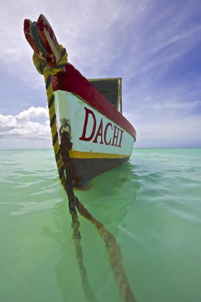 Anchored Colorful Fishing Boat Of Aruba II Poster