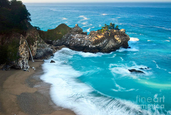 Beautiful Mcway Falls Along The Big Sur Coast. Poster