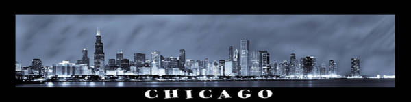 Chicago Skyline At Night Poster