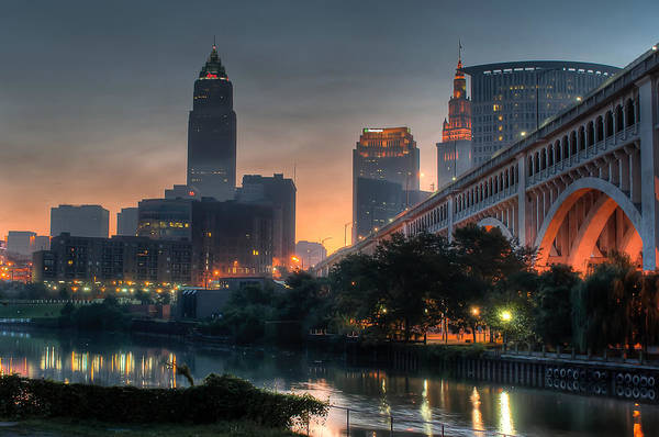 Cleveland Skyline At Dawn Poster
