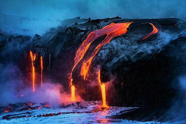 Lava Flow Entering The Ocean At Dawn Poster