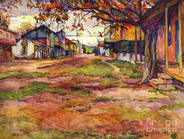 Main Street Of Early Spanish California Days San Juan Bautista Rowena M Abdy Early California Artist Poster