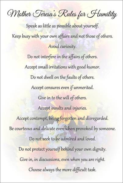 Mother Theresa's Rules For Humility Poster