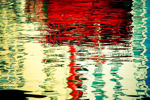 Reflection In Water Of Red Boat Poster