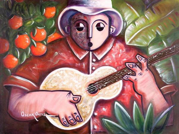 Poster featuring the painting Trovando En Las Marias by Oscar Ortiz