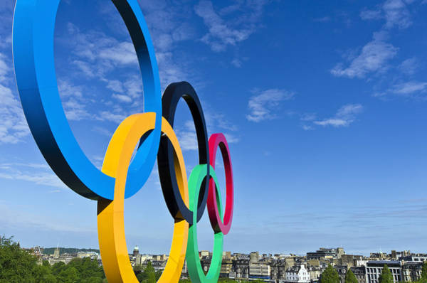 Poster featuring the photograph 2012 Olympic Rings Over Edinburgh by Ross G Strachan