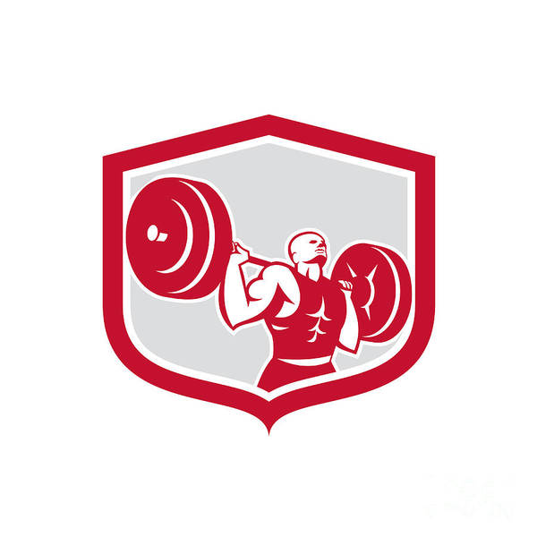 Weightlifter Lifting Barbell Shield Retro Poster