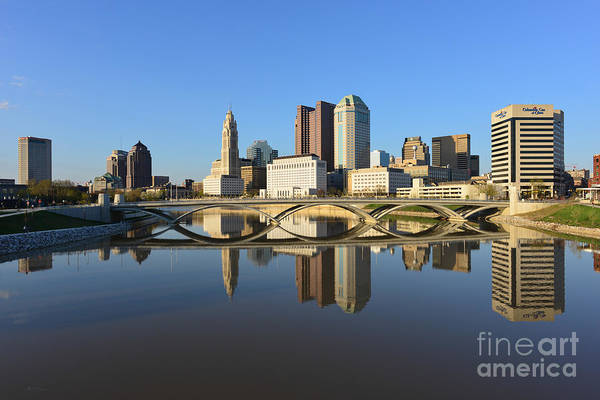 Fx1l-1058 Columbus Ohio Skyline Photo Poster